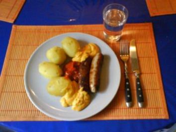 Rezept: Fleisch: Bratwürstchen mit Chakalaka-Dip