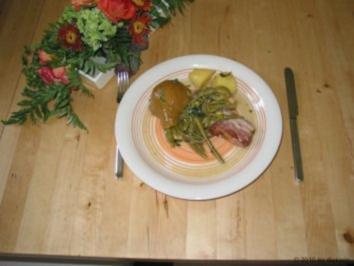 Hauptgericht Birnen, Bohnen und Speck - Rezept