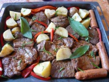 Grillfleisch vom Blech - Rezept