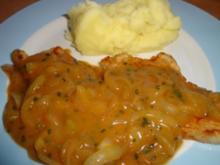 Zwiebelschnitzel mit Kartoffelpüree - Rezept