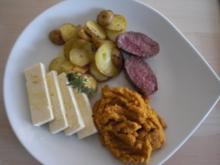 Thymiangebratene Lammsteaks mit Karotten-Honig-Creme und Feta - Rezept