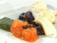 Limandes mit lila Kartoffeln und grünem Pesto à la Baudrexel - Rezept