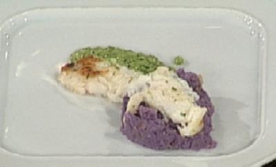 Limandes mit lila Kartoffeln und grünem Pesto (Julia Meffert) - Rezept