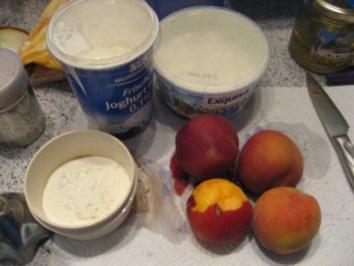 Eis- Pfirsich mit Joghurt und Quark - Rezept