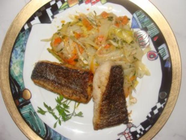 Fisch : -Merluzafilet mit Haut gebraten - Rezept