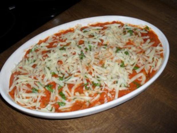 Maultaschen in Tomatensoße mit Schinken und Käse überbacken Bilder sind online - Rezept - Bild Nr. 8