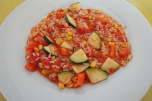 Tomatige Zucchini mit Reis - Rezept