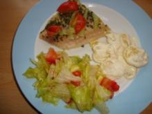 Pangasiusfilet mit Tomaten-Paprika -Koblauch - Rezept