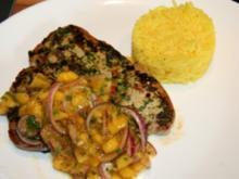 Fisch: Thunfischfilet mit Korianderhaube und Mango Salsa - Rezept