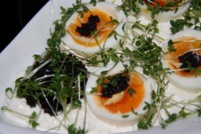 Rezept: Vegetarisch: Quark mit Ei im Kressebett