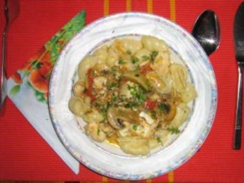 Tilapia - Ragout mit Champignons und Nudeln - Rezept