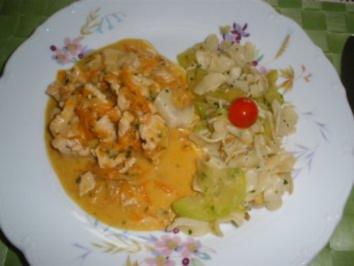 Fleischgerichte - Putengeschnetzeltes an Zucchininudeln - Rezept