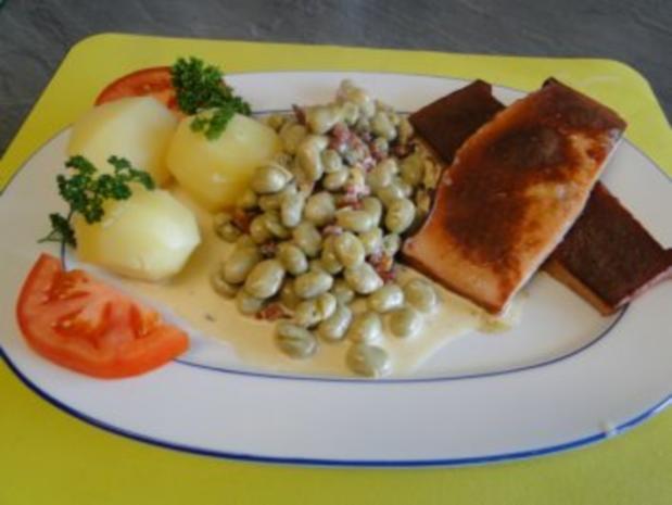 Dicke Bohnen in Speck-Sahnesauce, geht ganz fix           (Fotos) - Rezept