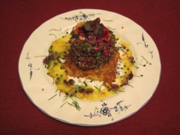 Rezept: Rote-Rüben-Frischkäse-Variation auf Kartoffelrösti