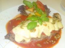 Schweinefleisch mit Tomaten und Mozzarella Überbacken - Rezept