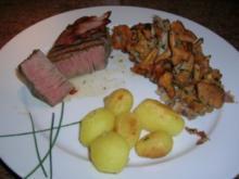Filetsteak mit Pfifferlingen und Drillingen - Rezept