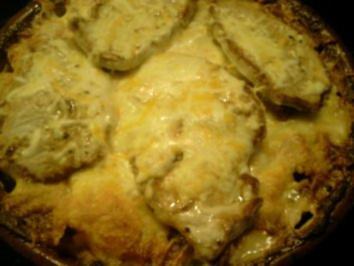 Kartoffelgratin mit Ananas und Kasselerminutensteaks - Rezept