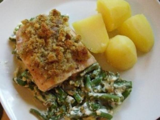 Fisch : Bohnen - Lachs - Gratin, super lecker ! - Rezept