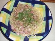 Nudeln mit Champignon-Schinken-Sauce - Rezept