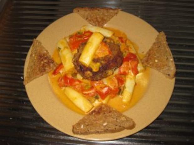 Frikadellen mal ganz anders...mit Spargel-Tomaten-Gemüse - Rezept