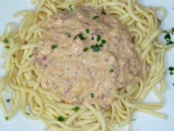 Rezept: Geräucherte Lachspfanne mit Spätzle