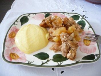 Dessert : Apfel-Crumble mit Eierlikörcreme - Rezept