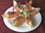 Fingerfood 1 : Melone mit Schinken - Rezept