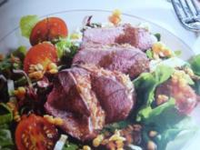 Salat mit geräucherter Entenbrust - Rezept