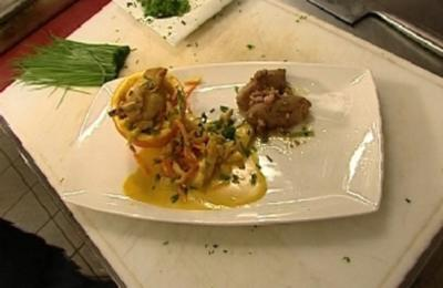 Ragout von Orange, Curry und Maishähnchen mit Knödel - Rezept
