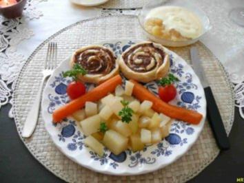 Hackfleisch : ... im Blätterteig an reichlich gesundem Gemüse - Rezept