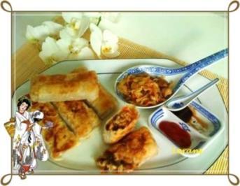Asiatisch - Frühlingsrollen mit Hähnchenfleisch und Glasnudeln - Rezept