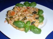 Italienischer Nudelauflauf mit einer Käse-Haselnussdecke - Rezept