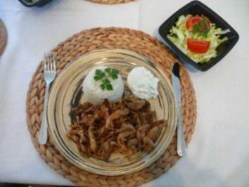 Schwein : Gyros mit Tzatziki an Reis - Rezept