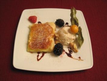 Blätterteig gefüllt mit Pudding und Walnusseis - Rezept
