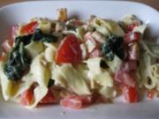 (ړײ)   Schneckeles angeschwipste Lachs-Spinat-Tomaten-Pasta  (ړײ) - Rezept