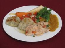 Weißweinmaishähnchen und Gemüse aus dem Römertopf mit Kartoffelknödeln - Rezept