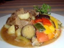 Ragout aus Lamm-, Rindfleisch und Kartoffeln mit Ratatouilles - Rezept