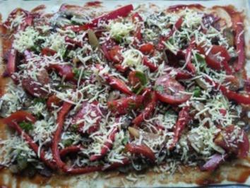 Champignon-Salami-Pizza - Rezept