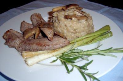 Pilzrisotto mit Aiguillettes de Canard - Rezept