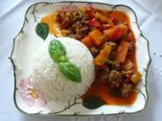 Hackfleisch : Gemüsebolognese an Reis - Rezept