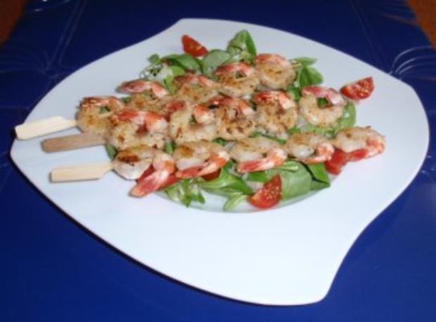 Feldsalat mit Garnelenspieße - Rezept - Bild Nr. 6