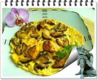 Asiatisch - Shiitake mit Eier und Frühlingszwiebeln - Rezept