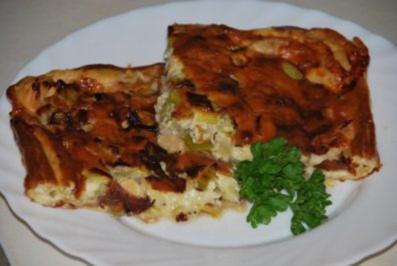 Poreequiche mit Birnen und Edelpilzkäse - Rezept
