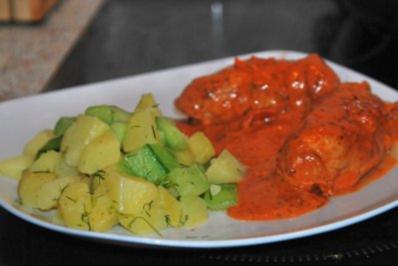 gefüllte Schnitzelröllchen mit Tomaten-Dillsahnesoße... - Rezept