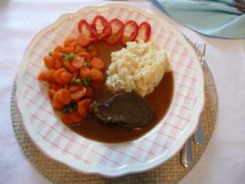 Rind : Sauerbraten an Gemüse mit Kartoffel-Kohlrabi-Brei - Rezept