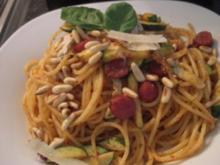 Pikante Spaghettini mit Salami - Rezept