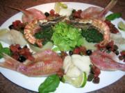 Fischplatte Kabeljauloin/ Meerbarben Blattspinat+Trüffelöl-Kartoffelpüree/ Pernod Sauce - Rezept