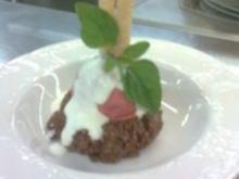 Zwetschgensorbet mit warmen Schokoladen-Couscous. - Rezept