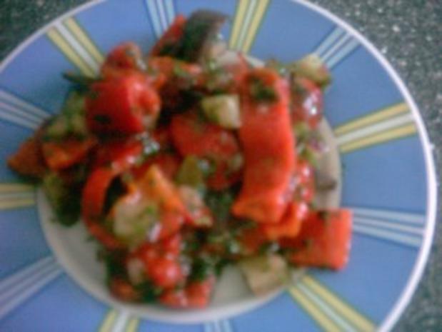 SALAT - geröstete Paprika und gebratene Aubergine - Rezept