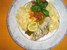 Farfalle an Gemüse-Pfifferlingsoße mit Gorgonzola und feinen Minutensteaks - Rezept